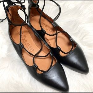 Sixty Seven Black Lace Up Pointed Toe Flats,  6